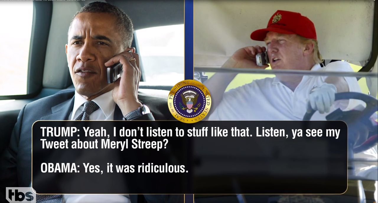 Obama and Trump engaged in a phony but funny phone call.