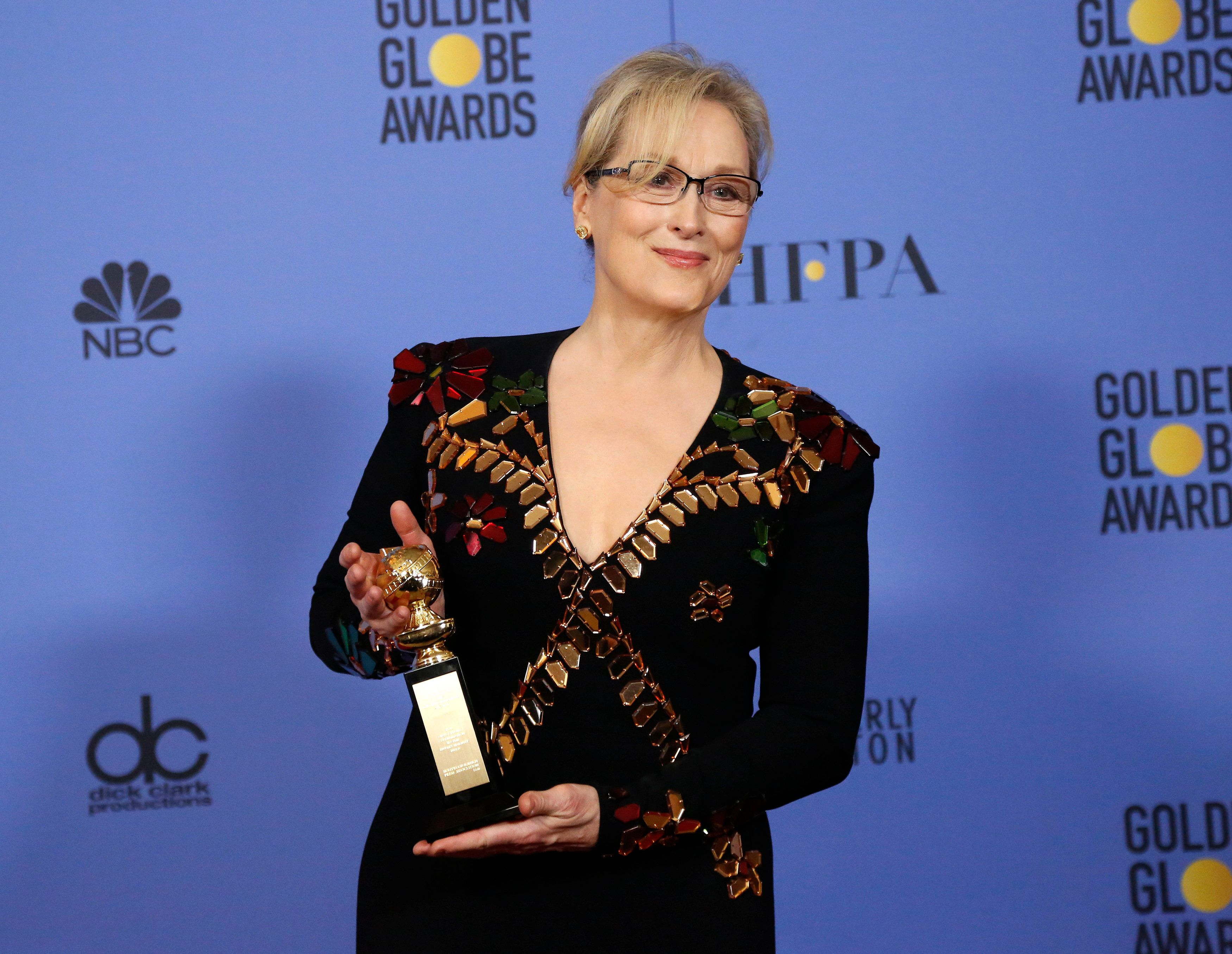 Meryl Streep holds the Cecil B. DeMille Award during the 74th Annual Golden Globe Awards in Beverly Hills, California, Jan. 8
