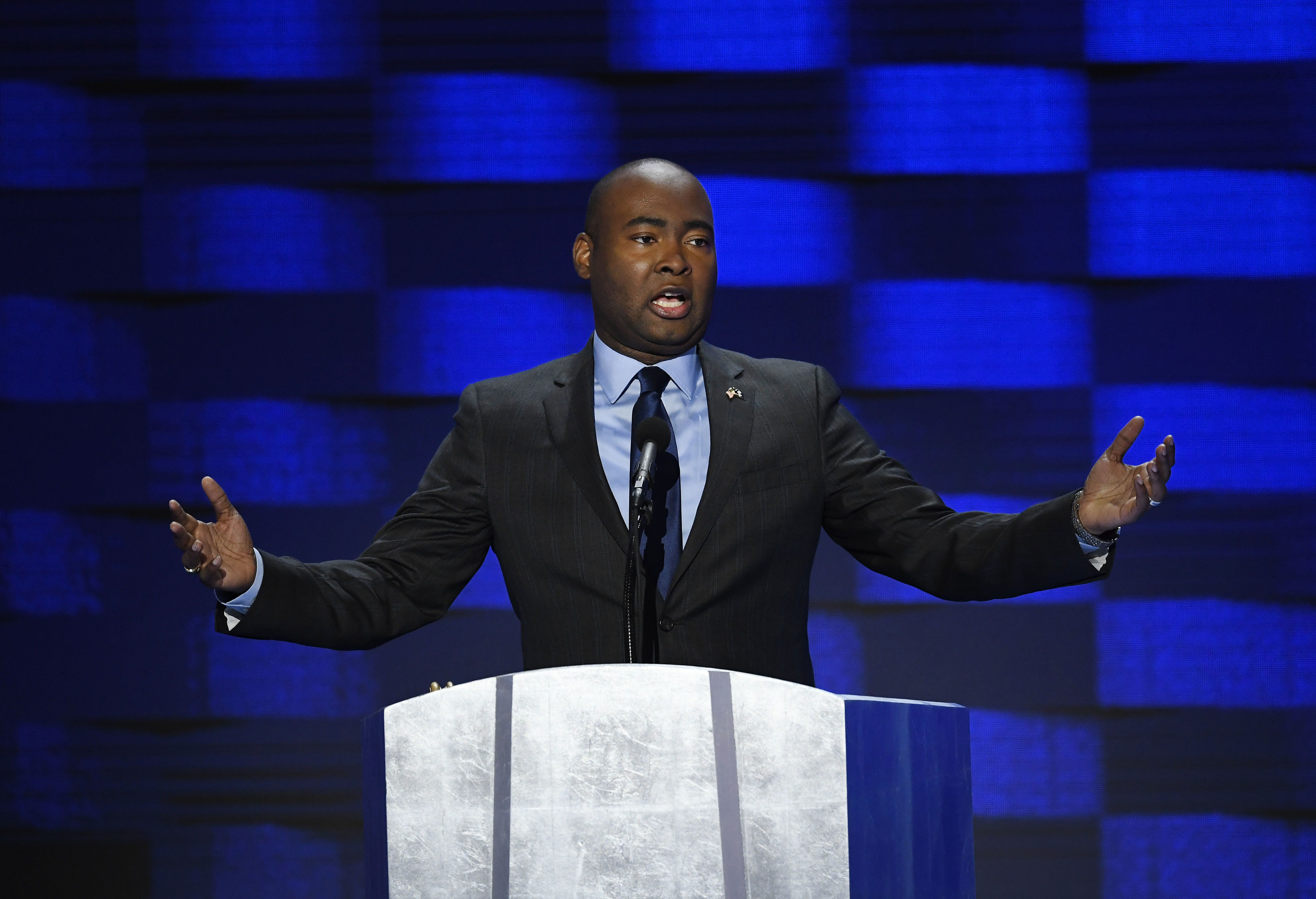 Jaime Harrison speaks durring the Democratic National Convention in Philadelphia on July 28, 2016. Harrison is joining a