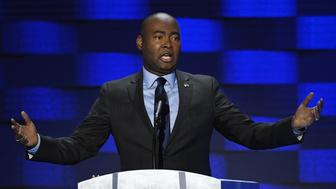 Jaime Harrison, chair of the South Carolina Democratic Party, speaks during the Democratic National Convention (DNC) in Philadelphia, Pennsylvania, U.S., on Thursday, July 28, 2016. Division among Democrats has been overcome through speeches from two presidents, another first lady and a vice-president, who raised the stakes for their candidate by warning that her opponent posed an unprecedented threat to American diplomacy. Photographer: David Paul Morris/Bloomberg via Getty Images