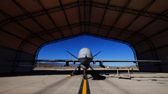 A U.S. Air Force MQ-9 Reaper drone sits in a hanger at Creech Air Force Base May 19, 2016. The base in Nevada is the hub for the military's unmanned aircraft operations in the United States. Picture taken May 19, 2016. REUTERS/Josh Smith