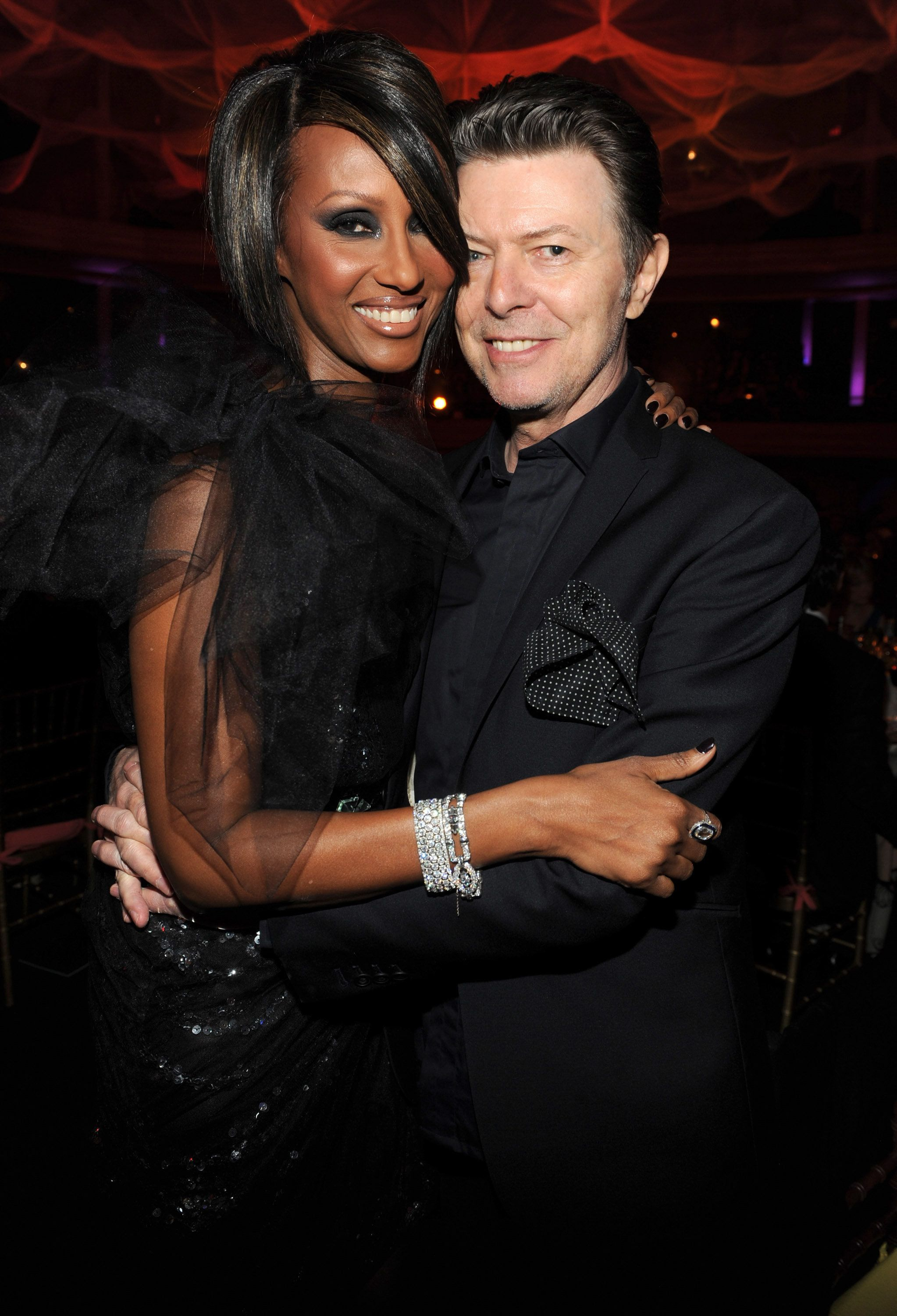 (EXCLUSIVE, Premium Rates Apply) NEW YORK - OCTOBER 15:  *Exclusive* Iman and David Bowie at Hammerstein Ballroom during Keep A Child Alive's 6th Annual Black Ball hosted by Alicia Keys and Padma Lakshmi on October 15, 2009 in New York City.  (Photo by Kevin Mazur/WireImage)