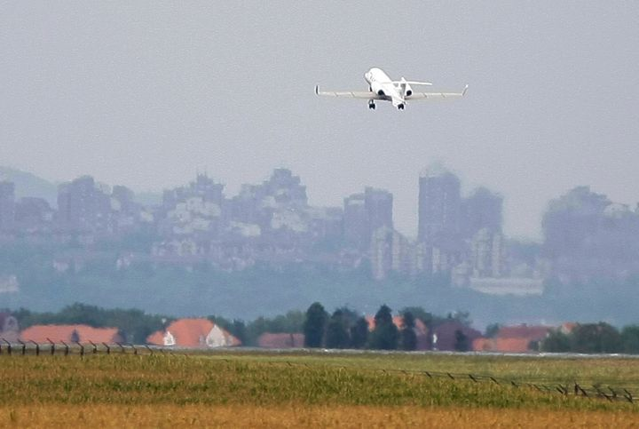A plane takes off from Belgrade airport.