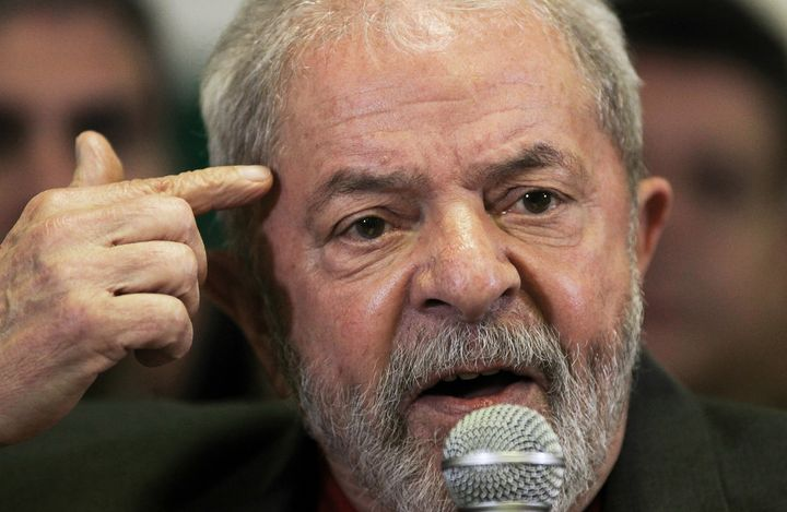 Brazil's former President Luiz Inacio Lula da Silva talks to the journalists during a press conference in Sao Paulo.