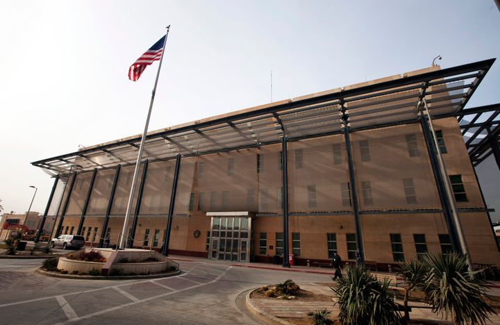 The Chancellery building inside the compound of the U.S. embassy in Baghdad.
