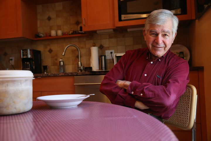 Former Massachusetts governor Michael Dukakis is pictured in the kitchen of his home in Brookline, MA.