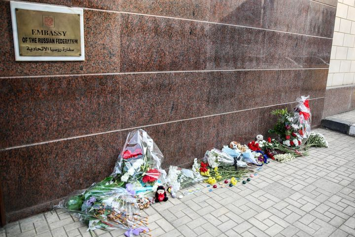 A group of Egyptian citizens leave flowers and toys for the 217 passengers on Kogalymavia Flight 9268, who lost their lives a