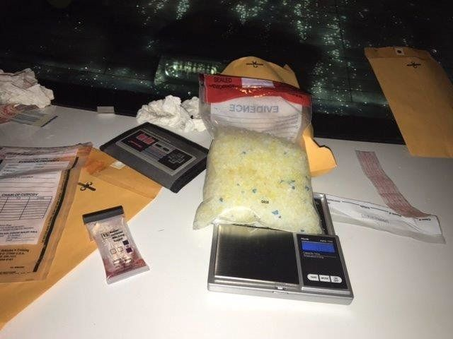 A photo police took of the cat litter that was mistakenly identified as meth.