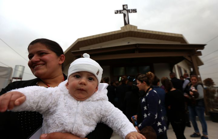 Christians at a Good Friday mass in Iraqi Kurdistan in 2016. While Kurdish authorities have welcomed Christian refugees, they