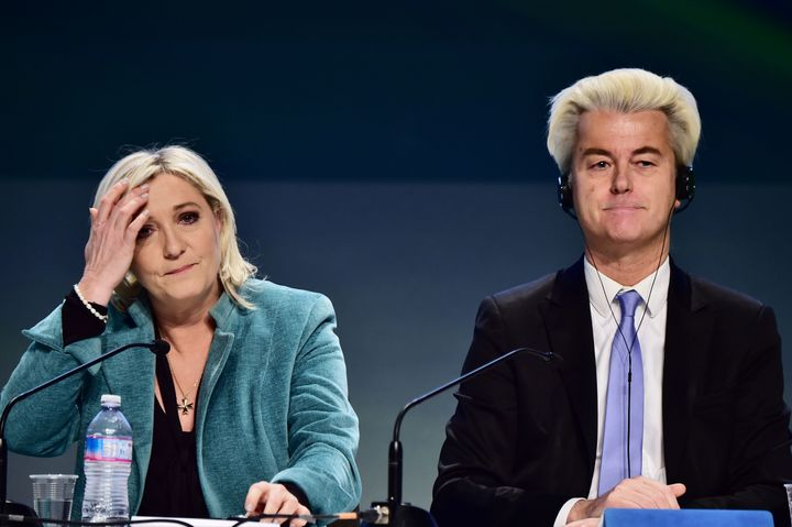 French far-right Front National (FN) party president Marine Le Pen and Dutch far-right Freedom Party leader Geert Wilders.