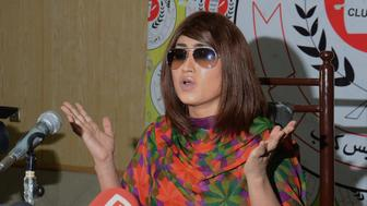 LAHORE, PUNJAB, PAKISTAN - 2016/06/28: Pakistani renowned actress and model Qandeel Baloch addresses to media persons during press conference in Press Club. A new scandal gone viral when controversial Qandeel Baloch posted a selfie pictures with scholar  A selfie shows Baloch posing with Mufti, sitting next to him. The second picture shows Mufti holding a cell phone to his ear and Baloch wearing his hat, standing close to him. (Photo by Rana Sajid Hussain/Pacific Press/LightRocket via Getty Images)