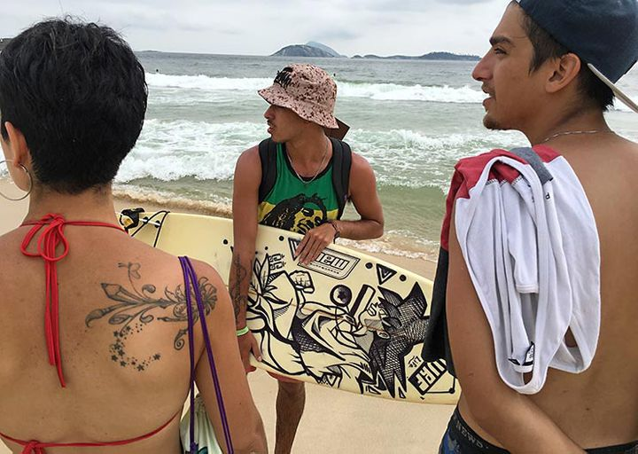 Chilean artists Jotael and Luciana Munoz enjoying Ipanema Beach the day after MOF. Meeting Of Favela 2016. Favela Operaria. D