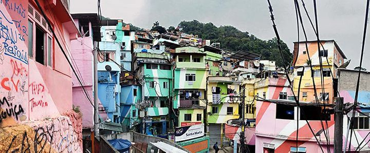 Painted houses by Dutch artists Haas and Hahn in Santa Marta Favela. Rio De Janeiro, Brazil.