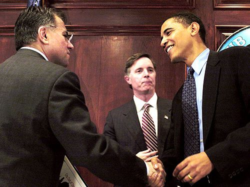 Gery Chico, Dan Hynes and Barack Obama following a candidate debate forum at the City Club of Chicago in the 2004 U.S. Senate