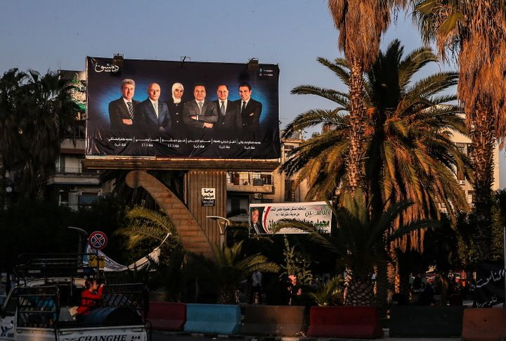 An election campaigning poster in a street in the Syrian capital, Damascus, ahead of the April 13 parliamentary elections.&nb