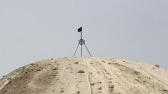 A fluttering Islamic State flag, is flown over a hill in Tel Abyad town on the Syrian-Turkish border, Raqqa countryside September 24, 2014. The town lies on the Syrian-Turkish border in Raqqa countryside, and forms a divided city with the Turkish town of Akcakale, with a border crossing between the two towns that is currently closed, activists said. The activists further added that Tel Abyad town is a stronghold of the Islamic state. Picture taken September 24, 2014. REUTERS/Stringer (SYRIA - Tags: CONFLICT SOCIETY POLITICS CIVIL UNREST)
