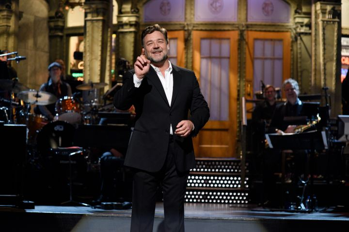 "Russel Crowe during his monologue as the host of ""Saturday Night Live"" on April 9, 2016."