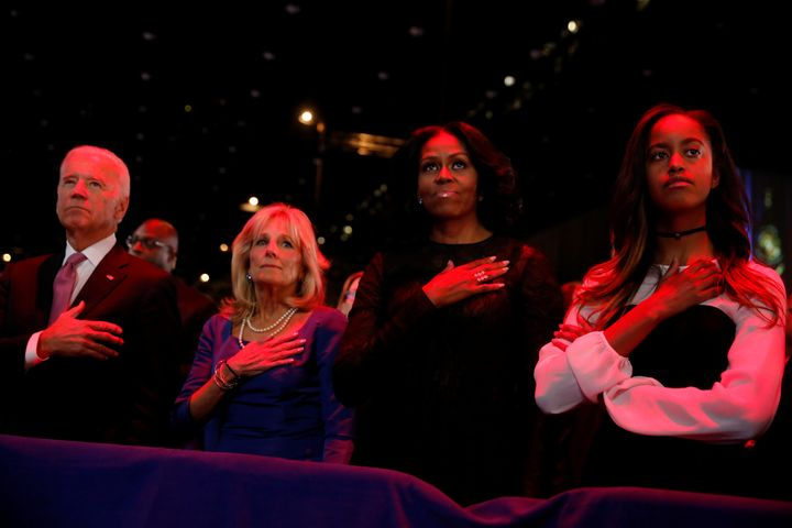 Obama thanked Vice President Joe Biden, his wife Jill Biden, first lady Michelle Obama and daughter Malia Obama during h