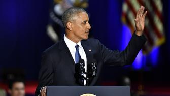 U.S. President Barack Obama waves during his farewell address in Chicago, Illinois, U.S., on Tuesday, Jan. 10, 2017. Obama blasted 'zero-sum' politics as he drew a sharp contrast with his successor in his farewell address Tuesday night, acknowledging that despite his historic election eight years ago his vision for the country will exit the White House with him. Photographer: Christopher Dilts/Bloomberg via Getty Images