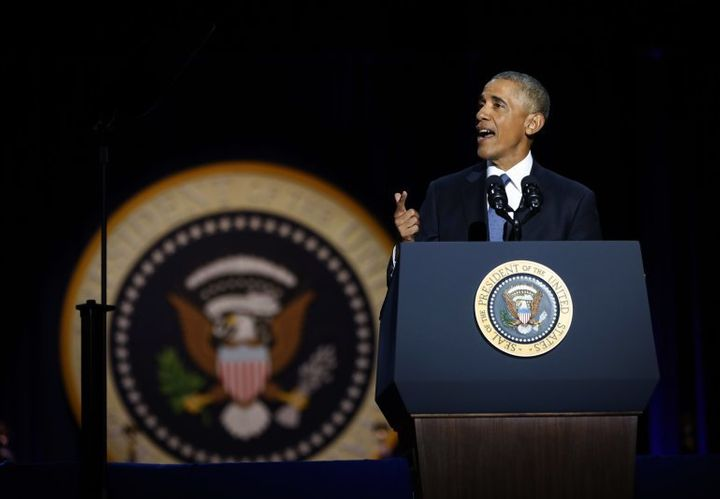 President Barack Obama delivers his farewell address to a packed Chicago Convention Center.