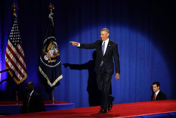 Obama arrives to deliverhis farewell address at McCormick Place in Chicago.