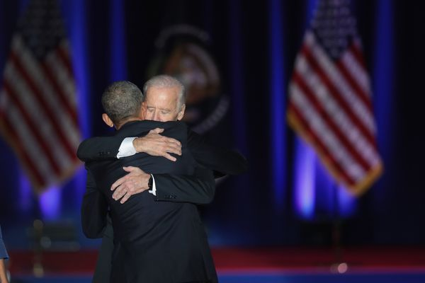 Obama and Vice President Joe Biden embrace after the president's farewell speech.