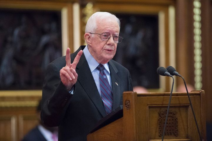Former President Jimmy Carter delivers a lecture on the eradication of the Guinea worm at the House of Lords on Feb. 3.
