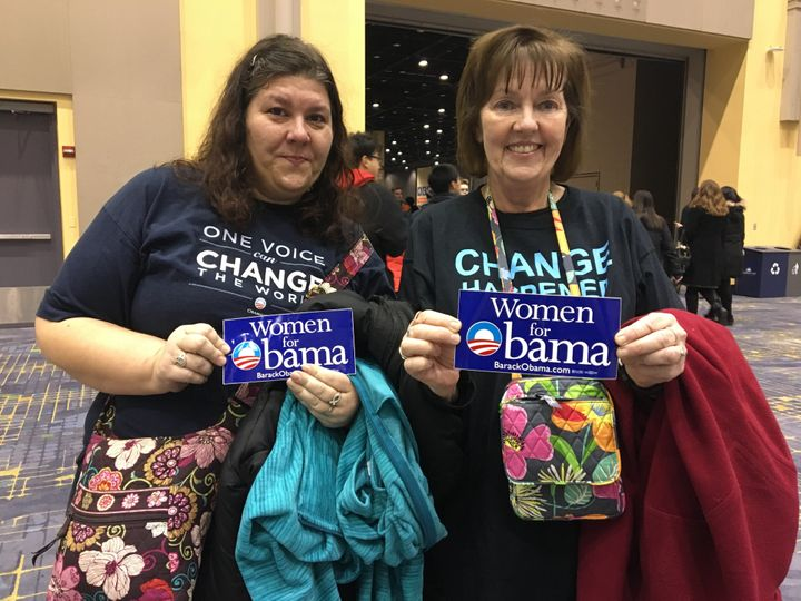 Andrea and Carol Bercos, in the shirts they wore at President Barack Obama's 2008 election night victory celebration in Chica
