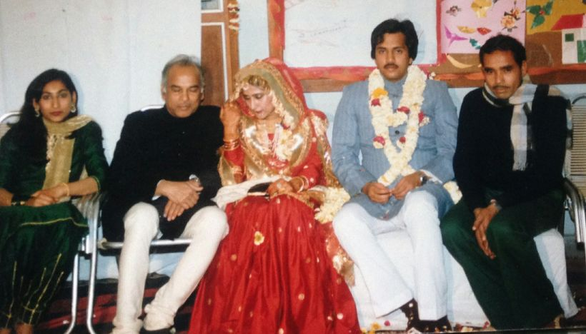 Bakshi Bhai (extreme right) with my father and I at my sister's wedding
