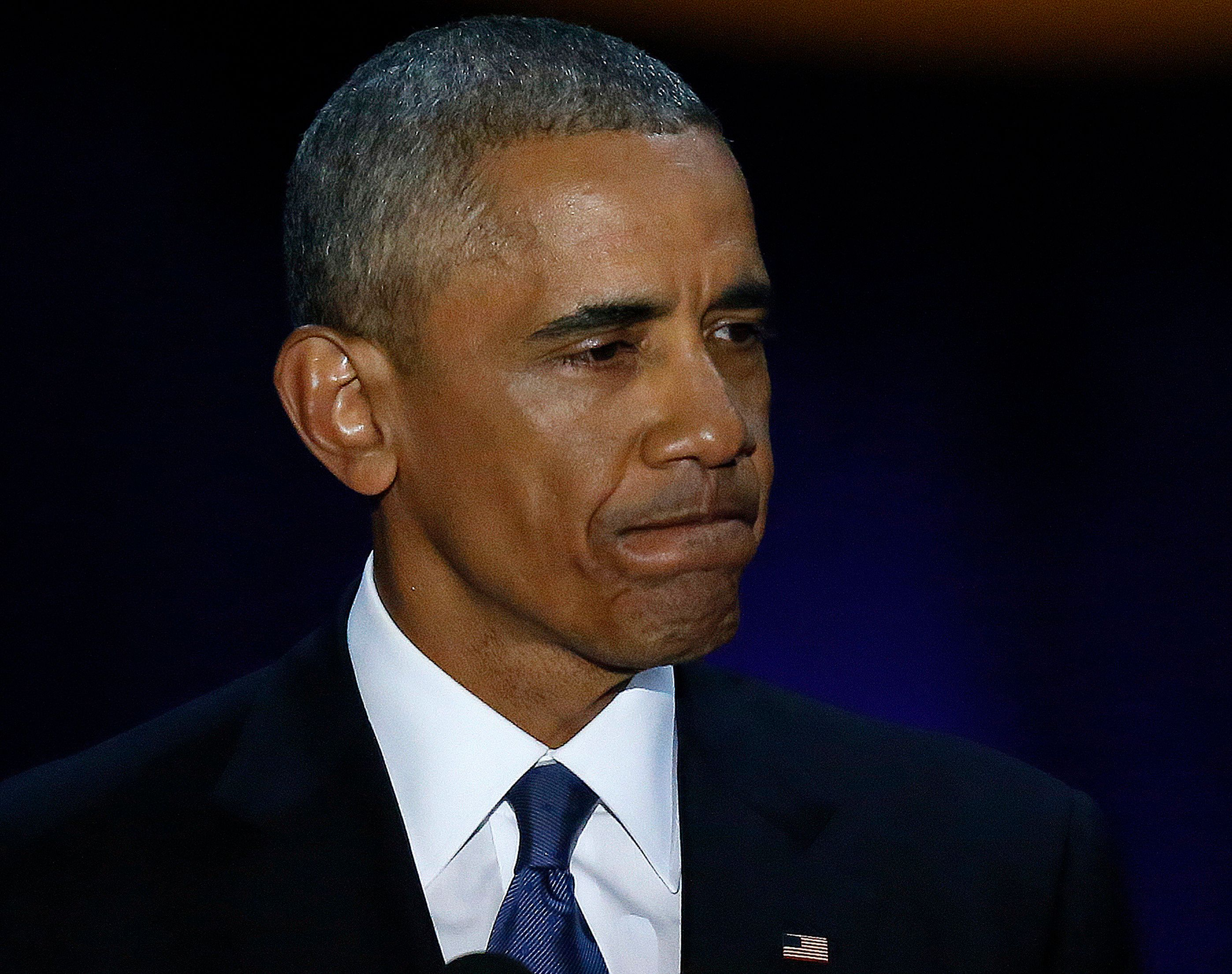 Barack Obama became visibly emotional when he spoke to his family during his farewell
