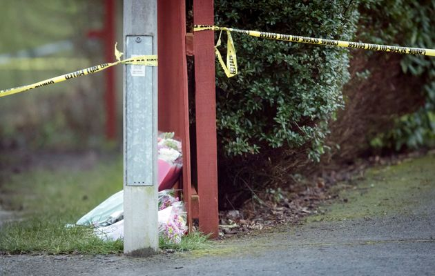 Floral tributes are left near the Woodthorpe area of York where Rough was