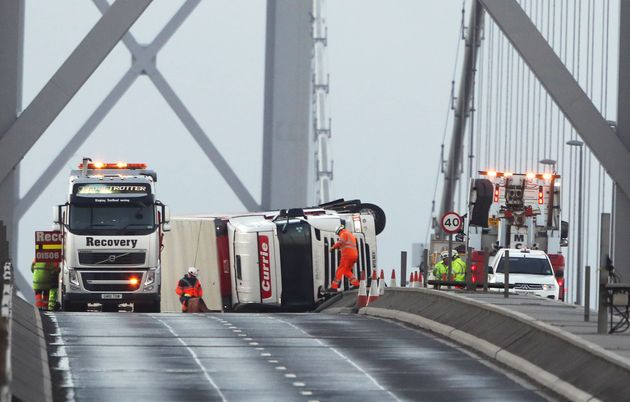 An overturned lorry on the Forth Road Bridge near