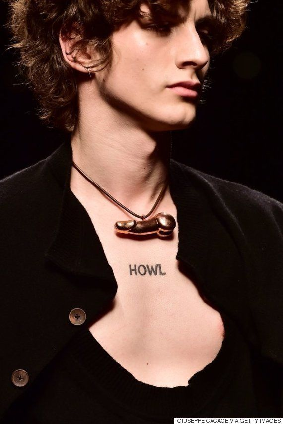 A model presents a Vivienne Westwood creation during the men autumn/winter 2016/2017 collection shows...