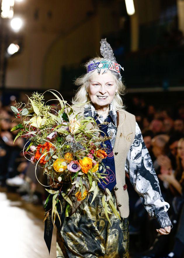 Vivienne Westwood walks the runway at Vivienne Westwood during London Fashion Week Men's January