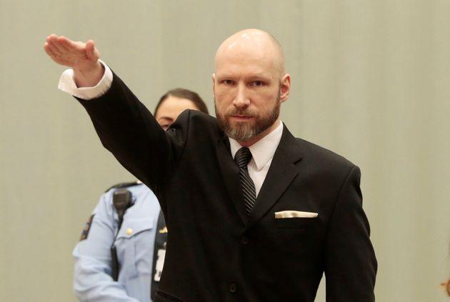 Anders Behring Breivik makes a Nazi salute in court in Skien,