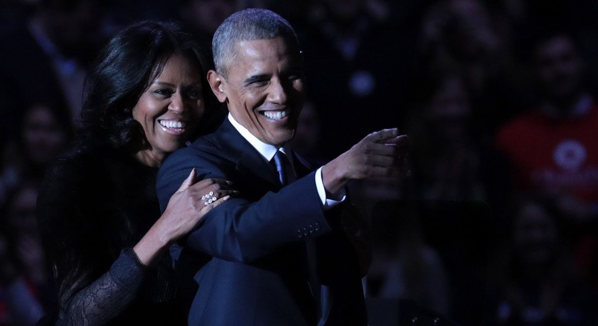 President Barack Obama and first lady Michelle Obama on stage after the president delivered his farewell address in Chicago.