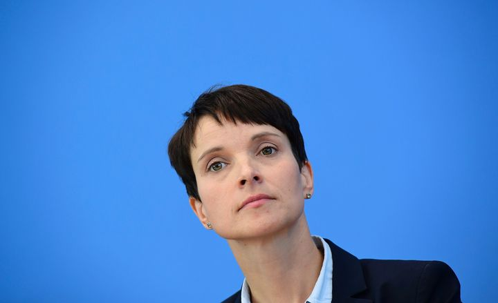 Leader of the 'Alternative fuer Deutschland' (AfD) Frauke Petry attends a press conference one day after regional elections i