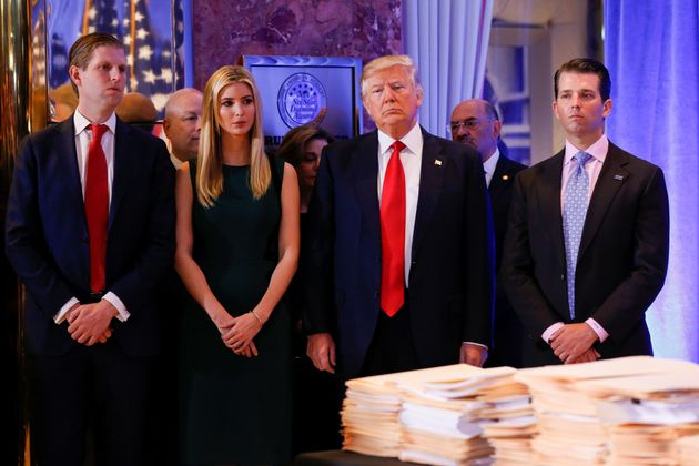 Donald Trump attended the press conference with his family, Eric Trump, left, Ivanka Trump and Jared