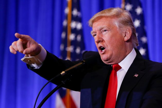 Donald Trump points during his press conference on Wednesday at Trump