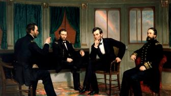 Digitally restored vectorized Civil War painting of The Peacemakers, by George P.A. Healy, depicting the historic meeting of the Union High Command during The American Civil War. Featured in the painting are General William Tecumseh Sherman, General Ulysses S. Grant, President Abraham Lincoln, and Rear Admiral David Dixon Porter. The strategy session took place on Grant's private dispatch boat, The River Queen.