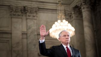 WASHINGTON, DC -  President Elect Donald Trump's pick for Attorney General Senator Jeff Sessions (R-AL) at his confirmation hearing before the Senate Judiciary Committee in Washington, DC Tuesday January 10, 2017. (Photo by Melina Mara/The Washington Post via Getty Images)