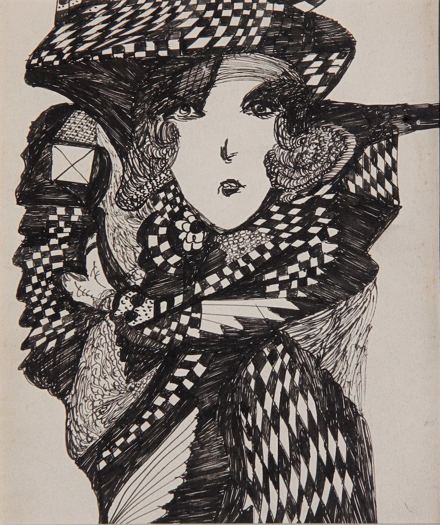 Madge Gill, c.1940, ink on card, 10 x 8 in.
