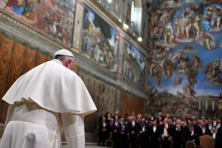 Pope Francis arrives at the Sistine Chapel on January 9, 2017.