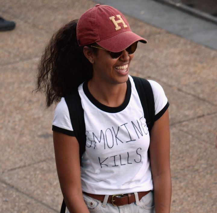 "Malia in her ""Smoking Kills"" t-shirt."