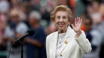 Holocaust survivor, Hermina Hirsch, 89, performs the national anthem during a baseball game between the Tampa Bay Rays and the Detroit Tigers in Detroit, Michigan USA, on Saturday, May 21,  2016. Hirsch's bucket list included performing the anthem before a Tigers game. (Photo by Jorge Lemus/NurPhoto via Getty Images)