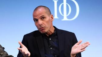 Yanis Varoufakis, former Greek finance minister, gestures whilst speaking during the Institute of Directors (IoD) Annual Convention 2016 at the Royal Albert Hall in London, U.K., on Tuesday, Sept. 27, 2016. The IoD said its latest survey found increasing pessimism about the economy. Photographer: Chris Ratcliffe/Bloomberg via Getty Images