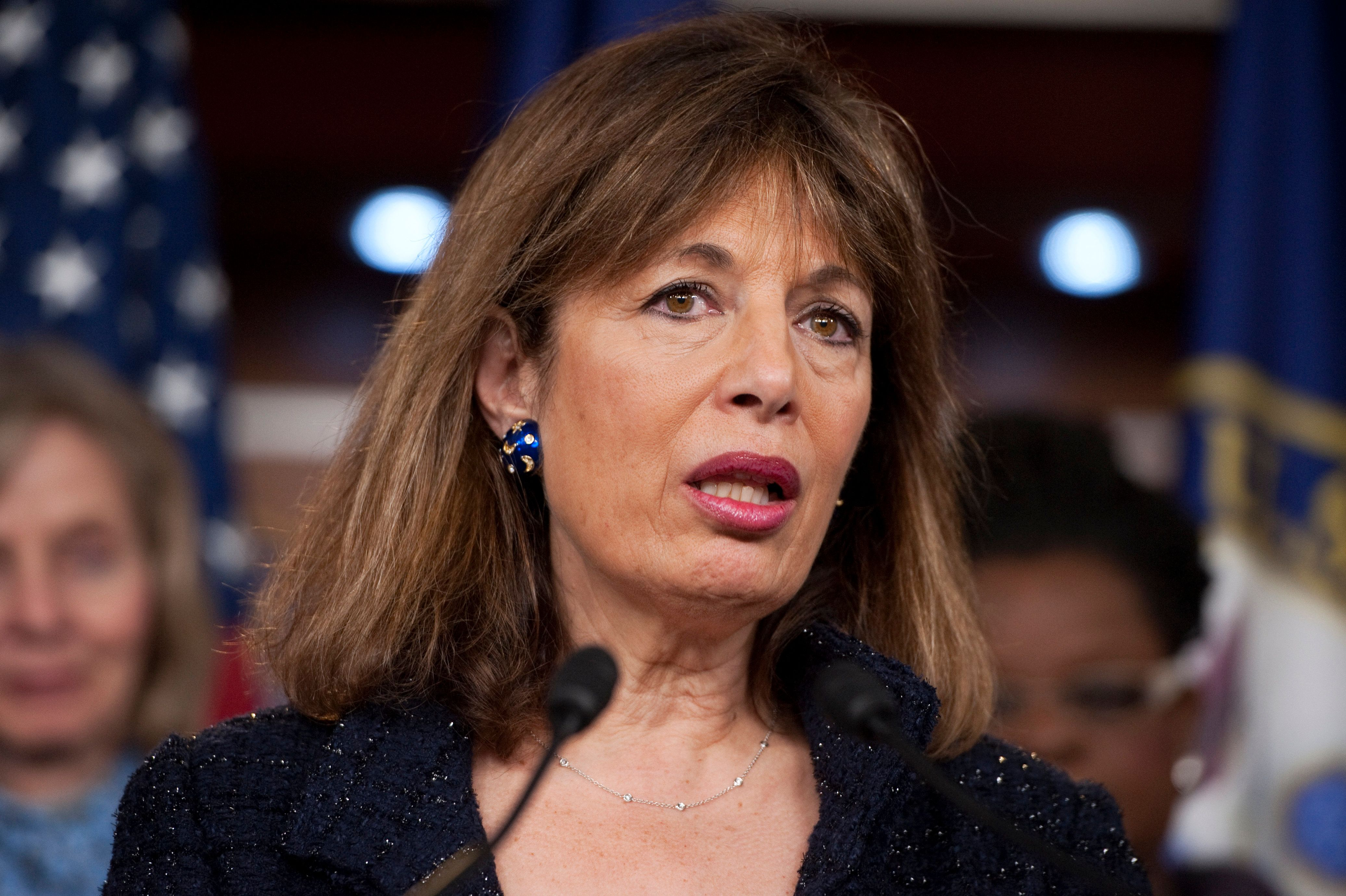 UNITED STATES - MARCH 20:  Rep. Jackie Speier, D-Calif., speaks at a news conference on the anniversary of the Affordable Care Act to discuss the benefits the law has had for American women. (Photo By Tom Williams/CQ Roll Call)