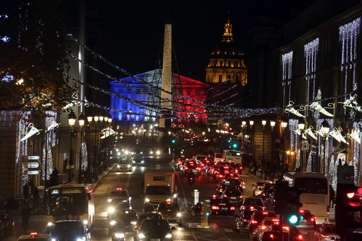 Lights along Rue Royale in Paris pay tribute to the victims of the terrorist attacks.