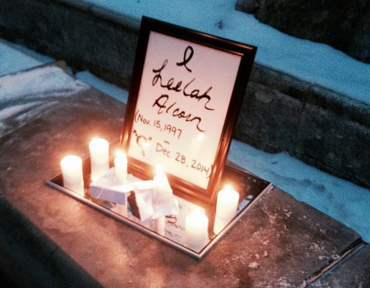 A vigil memorial for Leelah Alcorn. (2015)