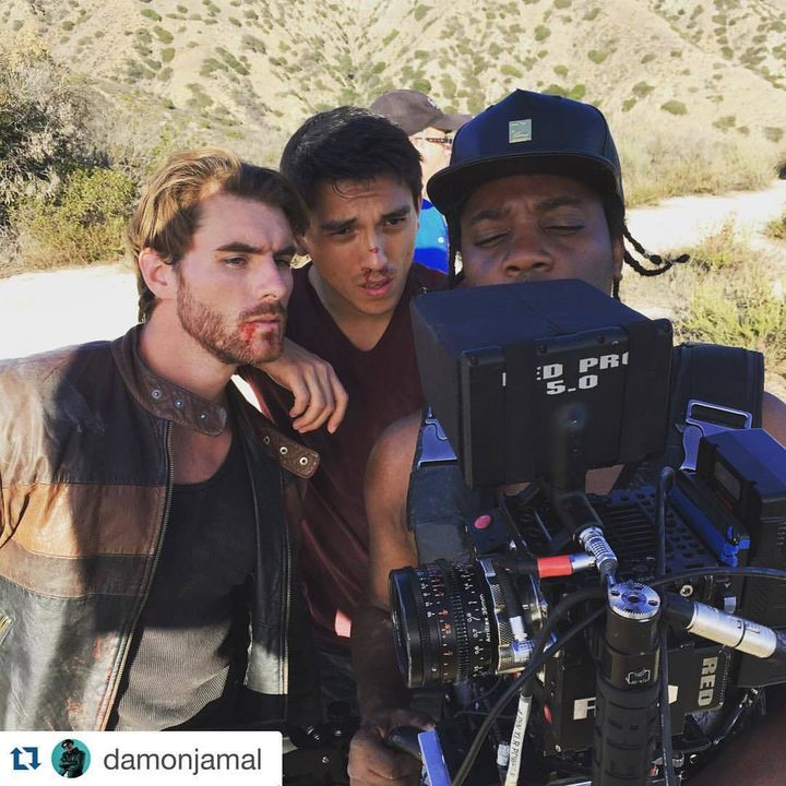 Christian Howard, Peter Jang, and Wesley Clouden on set for the short film Nothing is Sacred.